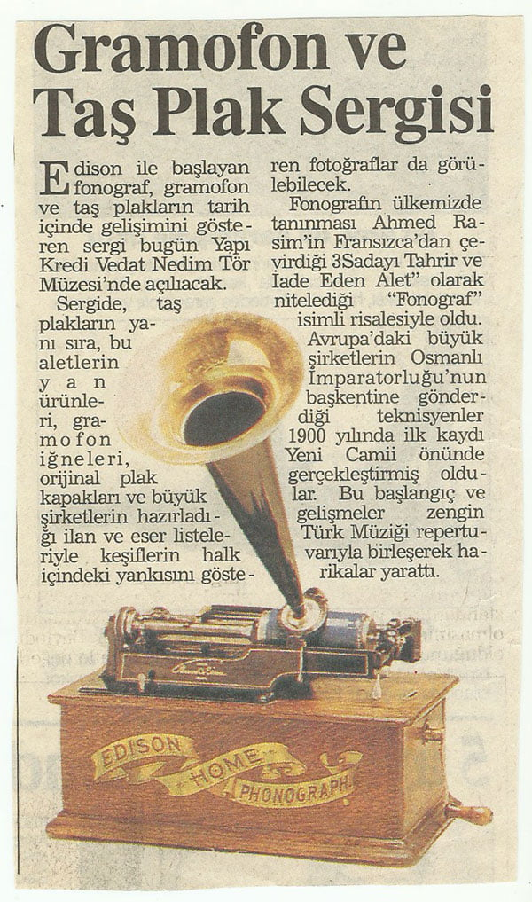 Gramofon Taş Plak Sergi